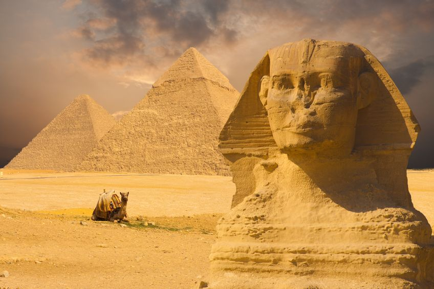 Sphinx foran pyramidene. Bilde: waupee/123RF Stock Photo