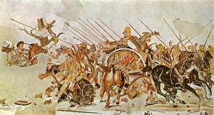 Slaget ved Issus mellom Alexander den store (t.v.) og Dareios 3. av Persia (på stridsvogn t.h.). Mosaikken er fra et hus i Pompeii og lagd en gang i løpet av det første århundret.