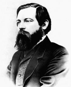 Friedriech Engels vokste opp i en privilegert Rhinland-familie i Tyskland og ble som 20-åring sendt av sin far til Manchester for å lære fabrikkene deres der å kjenne. Der så han hvordan den engelske arbeiderklassen levde dyp nød, i sterk kontrast til den nyrike middelklassens livstil. Bilde tatt i 1868.