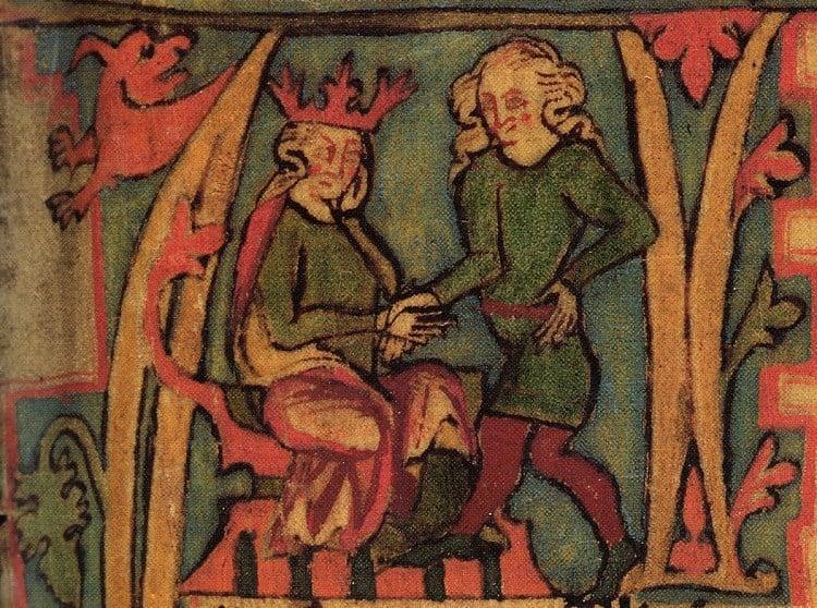 Fra en Islandsk bok fra 1400-tallet som viser Harald Hårfagre motta riket fra sin far. Harald Hårfagre er kjent som den første kongen til å samle de norske konge- og høvdingdømmene til ett rike. Illustrasjon: ingen opphavsrett grunnet alder. Tro kopi.