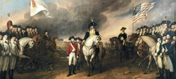 Cornwallis overgir seg til de amerikanske og franske styrkene ved Yorktown og avslutter i praksis krigen mellom britene og deres opprørske kolonister.
