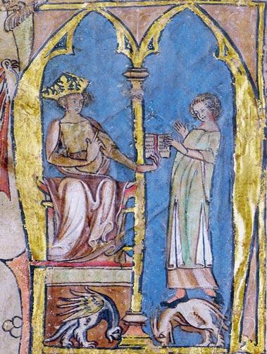 Magnus Lagabøte gir en lagmann en utgave av landsloven av 1274. Tegningen er fra Codex Hardenbergianus, en utgave fra 1300-tallet.