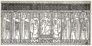 Illustrasjon av Gerhard Munthe fra Snorre Sturluson: Heimskringla, J.M. Stenersen & Co, 1899. Ingen opphavsrett grunnet alder.