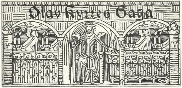 Illustrasjon (tittelfrise) av Gerhard Munthe fra Snorre Sturluson: Heimskringla, J.M. Stenersen & Co, 1899. Ingen opphavsrett grunnet alder.