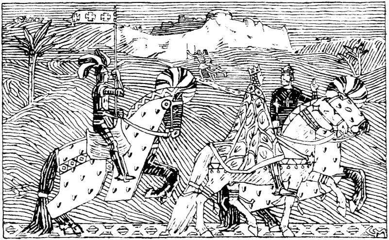 Illustrasjon av Gerhard Munthe i Snorre Sturlaśon - Heimskringla, J.M. Stenersen & Co, 1899. Ingen opphavsrett grunnet alder.