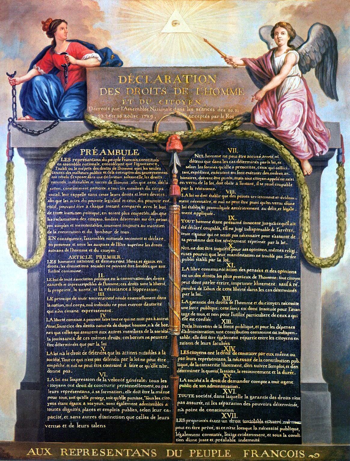 Erklæringen om menneskenes og borgernes rettigheter fra 1789. Denne erklæringen var verdens første generelle erklæring om alle menneskers rettigheter. Dessverre ble den satt til side allerede under jakobinernes terrovelde 1793-94.