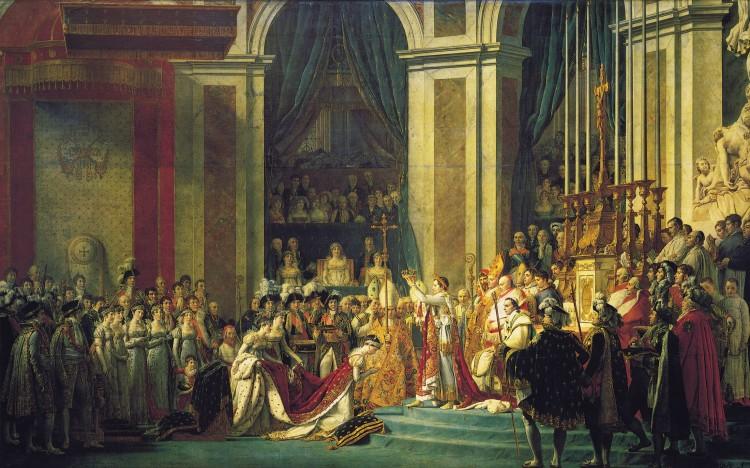 Kroningen av keiser Napoleon 1. Historien om at Napoleon Bonaparte skal ha gått frem og nappet kronen ut av hendene på pave Pius 7. for å demonstrere at han selv ikke var underlagt pavens autoritet er mest sannsynlig en myte. Maleri av Jaques-Louis David (1804). Ingen opphavsrett grunnet alder.
