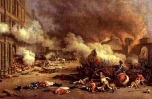 Stormingen av Tuilieries-slottet den 10. august 1792. Maleri av Jean Duplessis-Bertaux, 1793. Ingen opphavsrett grunnet alder.