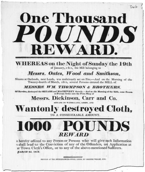 Ludditter-belønning i Leeds 1812
