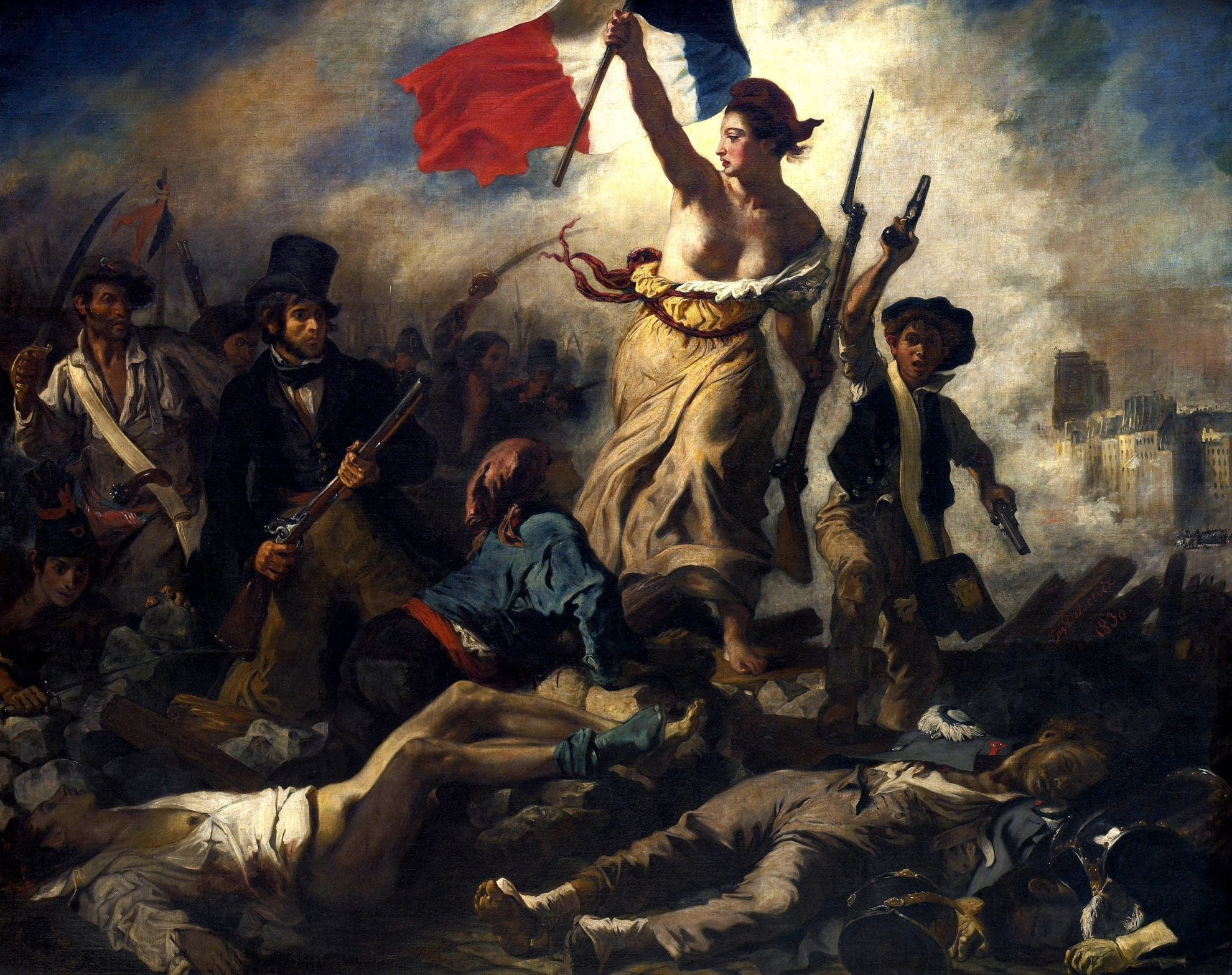Friheten på barrikadene av Eugene Delacroix. Maleriet ble ferdigmalt i slutten av juli 1830, samme måneden som julirevolusjonen i Paris skjedde. Legg merke til flagget, Tricoloren, fra den franske revolusjonen 1789, og kvinnens positur. Ingen opphavsrett grunnet alder.