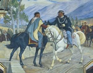 Den italienske opprørslederen og generalen Guiseppe Garibaldi møter Sardinias konge på broen ved Teano 26. oktober 1860.