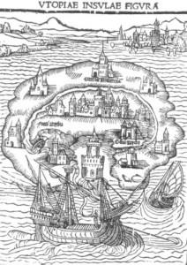 Bildesnitt fra Thomas Mores bok Utopia (1516)