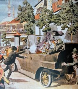 Illustrasjon fra henrettelsen av erkerhertug Frans Ferdinand 28. juni fra det franske magasinet Le Petit Journal. 12. juli 1914.