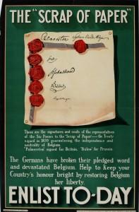 """I 1839 garanterte Storbritannia, Russland og Preussen for belgisk nøytralitet. Da den tyske kansleren Theobald von Bethmann Hollweg desperat forsøkte å holde britene unna en krig på fransk og russisk side skal han i sinne ha snerret at de ville gå til krig over en papirlapp, """"a scrap of paper"""". Kilde: Canadian War Museum, ingen opphavsrett."""