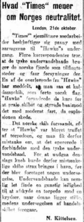 Faksimile fra Aftenposten 21.10.1914, klikk for større bilde