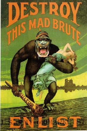 """""""Ødelegg dette gale beistet - innruller"""" En amerikansk propagandaplakat fra 1917 som oppmuntrer unge menn til å la seg innrullere i hæren. Legg merke til ordene på hjelmen, stranden det går i land på og klubben det har i hånden. Wikimedia Commons."""
