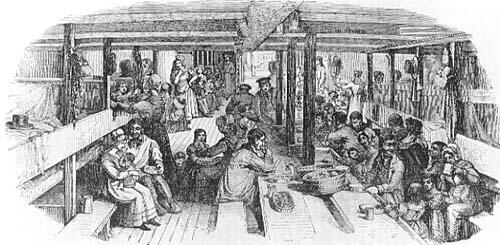 En illustrasjon fra ca. 1853 som viser mellomdekket på et typisk emigrantskip. Ukjent kunstner, kilde: Universitetet i Bergen.