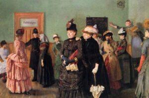 Albertine i politilægens venteværelse av Christian Krogh (ca. 1885), maleriet henger på Nasjonalmuseet. Ingen opphavsrett grunnet alder.