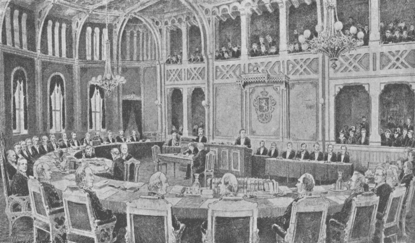 Tegning av Lorentz Norberg av Riksretten i 1884, ingen opphavsrett grunnet alder, Wikimedia Commons