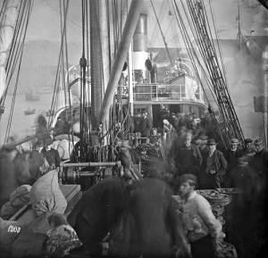 Et Emigrantskib ved dets Afreise fra Bergen