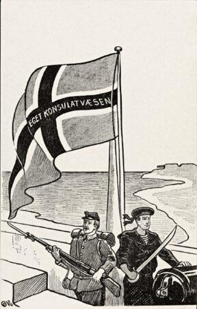 Postkort fra 1904 som viser noe av den spente og nasjonalistiske stemningen som spredte seg blant mange. Kunstner: Olaf Krohn, kilde: Nasjonalbiblioteket, ingen kjent opphavsrett.