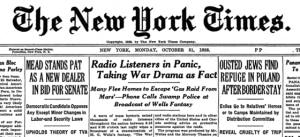 War of the Worlds omtalt i The New York Times dagen etter. Bilde: Wikimedia Commons, fair use