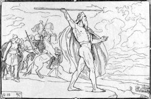 Odin kaster spydet mot vanene