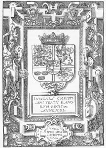 En avbildning av Kristian 3.s våpenskjold slik det er tegnet i den første dansk-språklige bibelen fra ca. 1550.