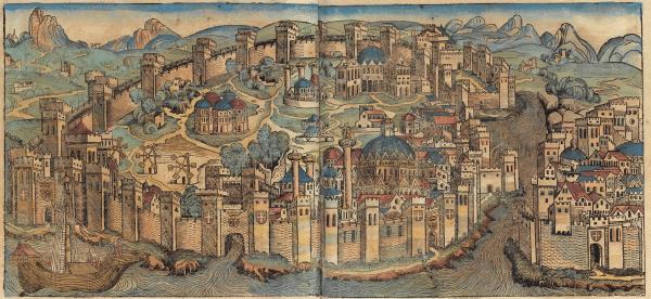 Et engelsk trestikk av Europas største by i middelalderen, Konstantinopel, fra ca 1490 fra Nüremberg-krønikene, publisert i Nüremberg 1493.