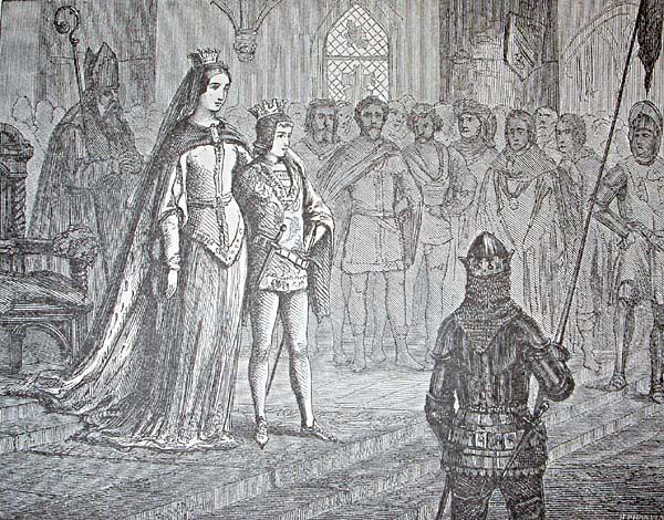 Erik av Pommern krones til konge over et samlet norden i Kalmar slott sommeren 1397. ''Stikk av HP Hansen fra Nordens Historien av Niels Bache 1884