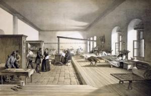 Florence Nightingale i lasarettet. W. Simpson del. ; E. Walker lith. ; Day & Son. 1856. Ingen opphavsrett.