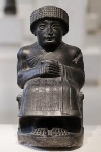 Yngre sumerisk gudebilde fra Lagash rundt 2120 før vår tidsregning. Wikimedia Commons