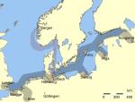 Hansaens handelsruter i middelalderen. Klikk på kartet for å se større utgave. Ingen opphavsrett.