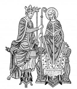 Tresnitt av en middelalderkonge som gir investitur til en biskop. Fra Mediaeval and Modern History 1905. Ingen opphavsrett grunnet alder.