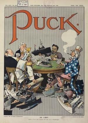Tegning fra magasinet Puck 1909 som viser nasjonene som hadde meldt seg på i flåtekappløpet til da. Wikimedia Commons, ingen opphavsrett grunnet alder.