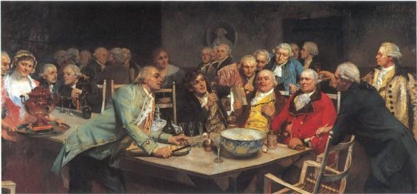 Det Norske Selskab av Eilif Peterssen, malt 1892. Mannen i rød jakke forestiller Johan Nordahl Brun, mens Johan Herman Wessel hever sitt glass og madame Juehl smiler i bakgrunnen.