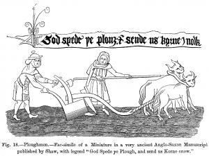 Illustrasjonen på bildet er fra 1600-tallet og viser to bønder som pløyer en åker med en plog dratt av to okser. På 1200-tallet lærte man å lage plogskjær av støpejern som var både bredere og sterkere enn tidligere skjær. De kunne skjære dypere og vende mer jord, men var også tyngre å dra. Plogens bidrag til produksjonsvekst og befolkningsvekst har vært uvurderlig.