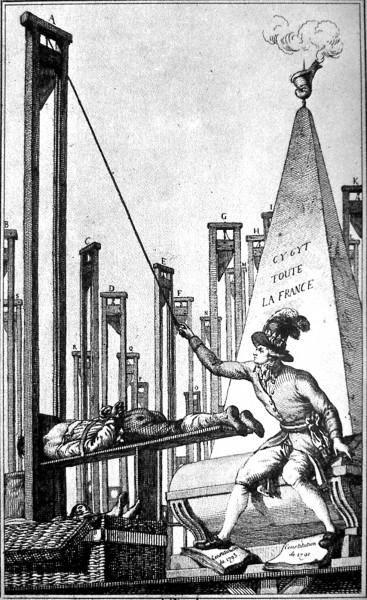 """Det blir sagt at jakobinernes terrorvelde endte med at revolusjonen begynte """"å spise sine egne"""". På karikaturen illustreres dette ved at Robespierre, i mangel på flere å ta livet av, henretter sin egen bøddel."""