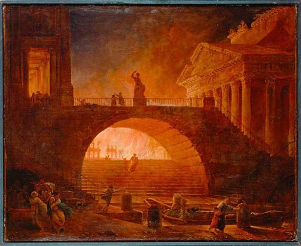 I år 64 brant store deler av Roma ned i en brann som i følge den romerske historikeren og senatoren Tacitus varte i hele fem dager. En gruppe kristne skal ha tilstått å ha tent på brannen som startet like ved Circus Maximus, men mange mener også at det var Keiseren, Nero, som selv startet brannen for å rydde plass i sentrum av byen til sitt nye palass. Hvilken versjon som er nærmest sannheten er vanskelig å si, det kan like gjerne ha vært en tilfeldighet da små branner ofte oppstod i den tett befolkede byen. Det er mange myter om Nero, han skal blant annet ha fått sin egen mor henrettet og sin stebror forgiftet. Og mens byen brant skal han spilt på sitt strengeinstrument. Bilde: Maleri av Hubert Robert (1733-1808)