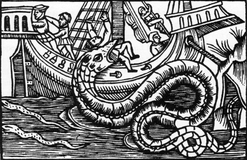 Å være fisker langs de nordiske kystene har alltid vært et farefullt yrke. Mektige sjøslanger som sprang opp fra dypet og tok med seg skip og mann til bunns var blant de friske historiene sjømenn har kommet hjem med og som i dette tilfellet har inspirert den svenske 1500-tallshistorikeren Olaus Magnusson. Bildet er hentet fra hans 22 bind store verk om de nordiske folkenes historie fra ca 1550.