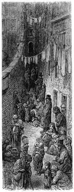Slum Orange-court i London av Gustave Dore London 1872