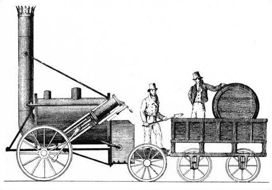 """Tegning av George Stephensons damplokomotiv """"Rocket"""" som vant den legendariske Rainhill Trials-konkurransen i 1829."""