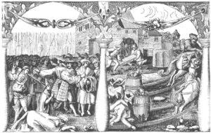 Kristian 2.s blodige forsøk på å fjerne all politisk motstand i Sverige resulterte i tapet av den kronen han nettopp hadde sikret seg. Like etter hendelsen som er kjent som Stockholms blodbad bestilte Gustav Vasa denne propagandaillustrasjonen av hendelsen. Til venstre er bøddelen i ferd med å henrette en av biskopene mens likene av flere kjente svenske adelsmenn ligger i forgrunnen eller bæres bort av tjenere for å brennes som kjettere. Kobberstikk av Hans Kruse 1524. Ingen opphavsrett grunnet alder.