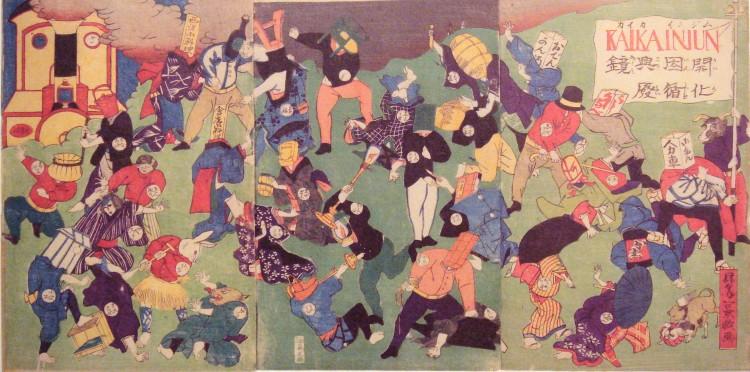 Det japanske samfunnet hadde med unntak av en nederlandsk handelsstasjon vært et lukket samfunn i 200 år før de amerikanske krigsskipene truet Shogunen til å åpne portene. Kampen mellom det tradisjonelle og moderne som fulgte førte både til at staten ble sentralisert til Tokyo, stor makt til keisertittelen og omfattende industrialisering med mål om å ta igjen det europeiske forspranget. Bilde: Ukjent japansk kunstner.