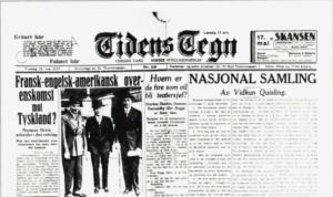 Tidens Tegn, borgerlig avis, 1933 om nasjonal samling
