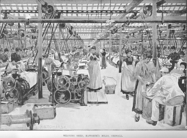 kvinner som opererer vevemaskiner