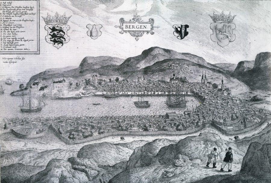 Bergen slik byen så ut i 1580. Byen var Norges største gjennom hele tiden i union med Danmark, selv om Kristiania og dens nærhet til København ble landets administrative by. Bilde: ingen opphavsrett grunnet alder.