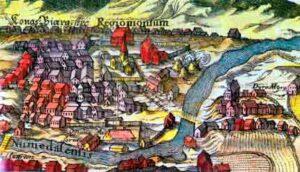 Kongsberg anno 1696. Sølvverket på Kongsberg gjorde byen til landets nest største på midten av 1700-tallet.