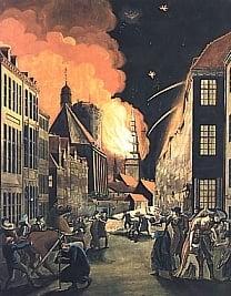 August 1807 angrep britene København med en hær i nord og en krigsflåte til sjøs. Byen ble utsatt for en omfattende brannbombing i tre dager før den overgav først seg selv, og siden den dansk-norske flåten.