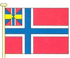 """Tegning av """"sildesalaten"""" slik den så ut fra norsk side i 1842. Det svenske flagget hadde også et unionsmerke øverst til venstre, og heller ikke de syntes deres flagget var særdeles tiltalende. Bilde: Wikimedia Commons"""